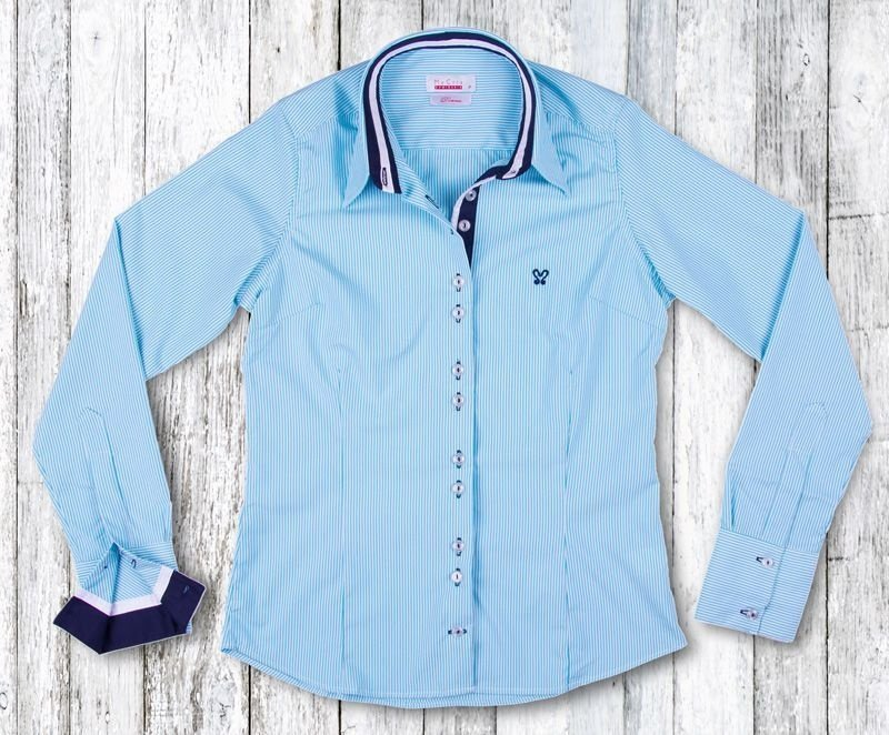 Camisa Feminina My Cris Listrada Azul