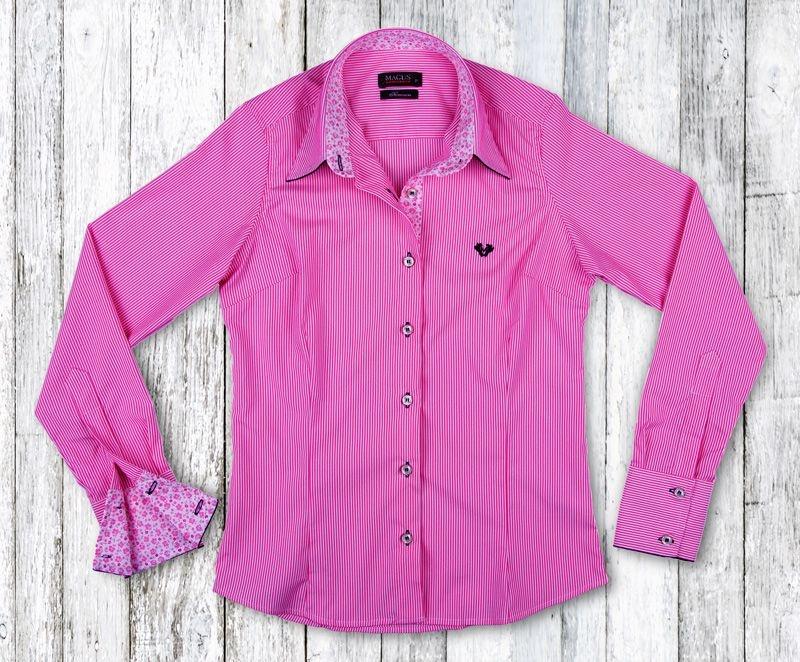 Camisa Feminina My Cris Listrada Rosa