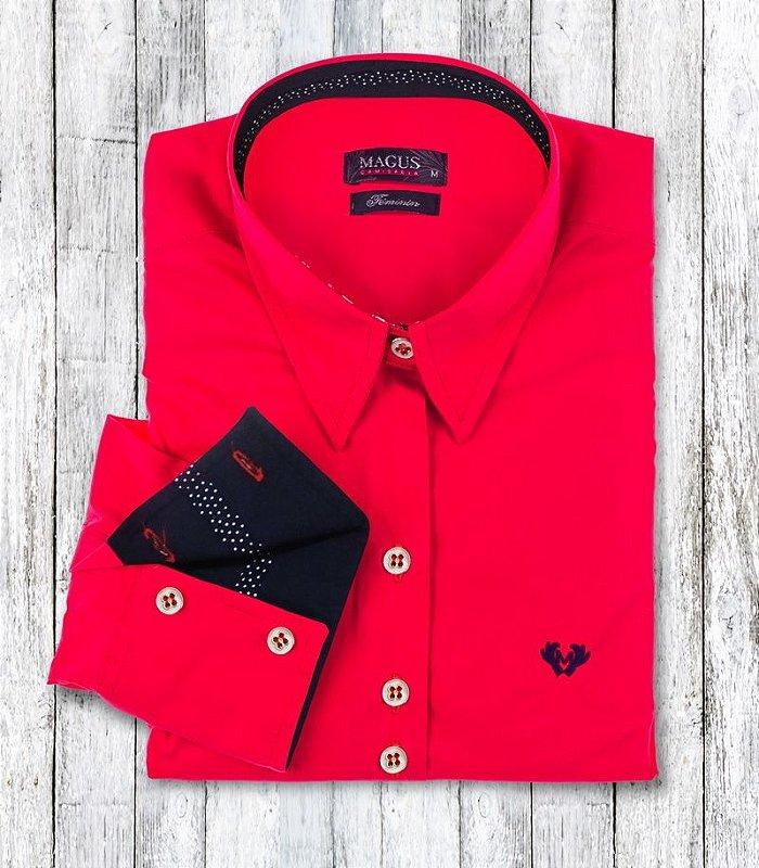 Camisa Feminina My Cris Vermelha Poá
