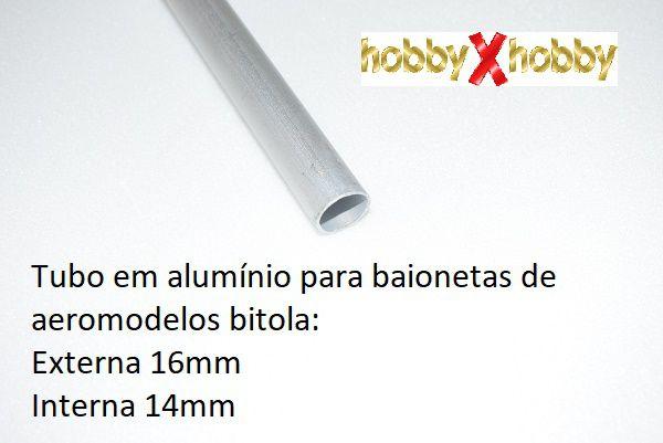 Tubo em alumínio para baionetas de aeromodelos, bitola ext. 16mm