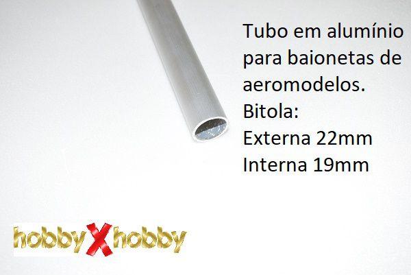 Tubo em alumínio para baionetas de aeromodelos. 22mm X 99 cms.