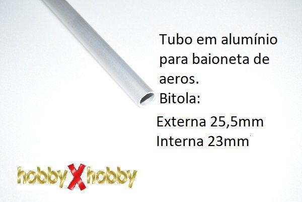 Tubo em alumínio para baionetas de aeromodelos 25mm X 99cms.