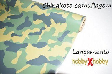 Chinakote camuflagem, overkote/monokote termofixo, próprio para entelagem de aeromodelos, conferindo alta resistência e acabamento impecável.