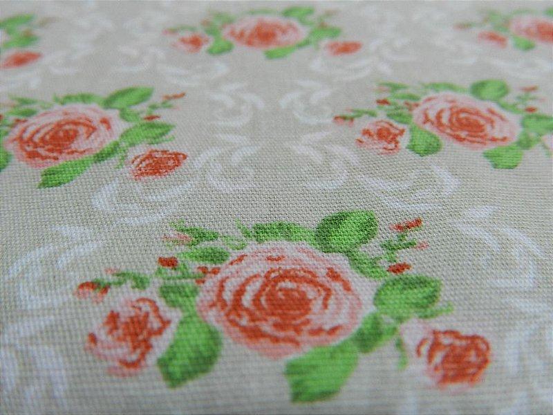 Rosas. Tecido 100% Algodão. NF0034 (50x70cm)
