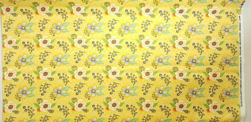 Floral Amarelo. Tecido 100% Algodão. NF0037 (50x140cm)