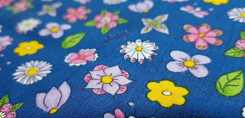 Azul Floral. Tecido 100% Algodão. NF0038 (50x140cm)