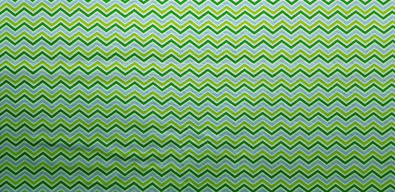 Chevron Verde e Azul. Tecido 100% Algodão. NN0029  (50x140cm)