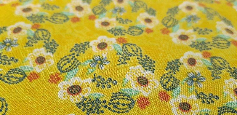 Floral Amarelo. Tecido 100% algodão. NF0041 (50x140cm)