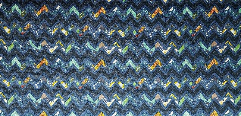 Chevron Azul. Tecido 100% Algodão. NF0042  (50x140cm)