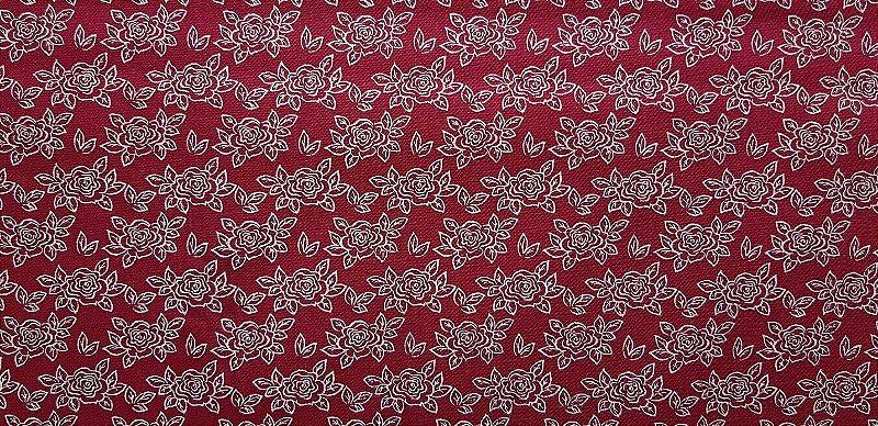 Red Floral. Tecido 100% algodão. TN097B (50x140cm)