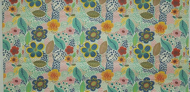 Floral Colorido. Tecido 100% algodão. NF0044. (50x140cm)