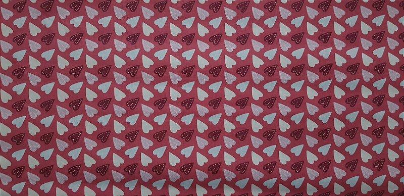 Corações Rosa. Tecido 100% algodão. NV0044 (50x70cm)