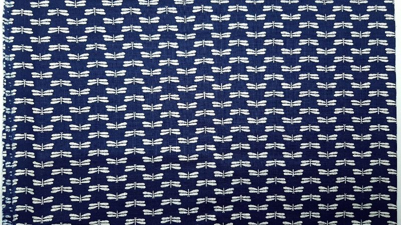 Libélulas. Blue Navy. Algodão Rústico. JV0033 (49x54cm)