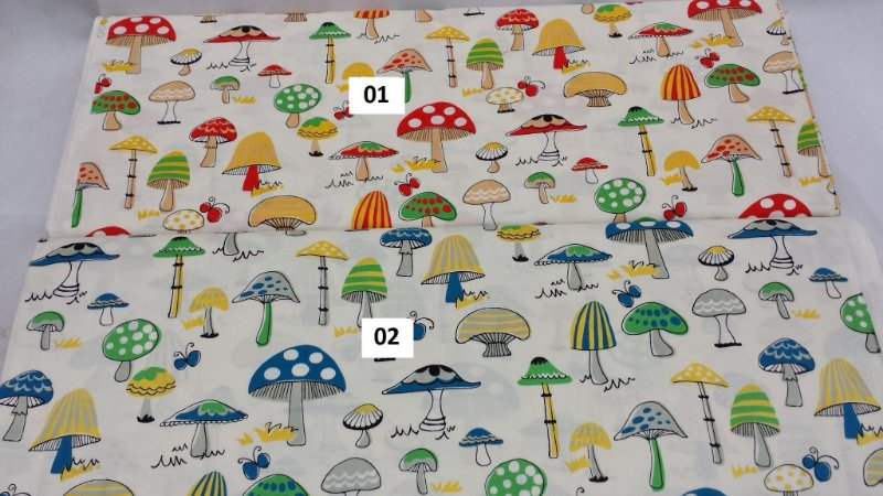 Mushrooms. 100% Alg em Fat Quarter. (50cm x 55cm)