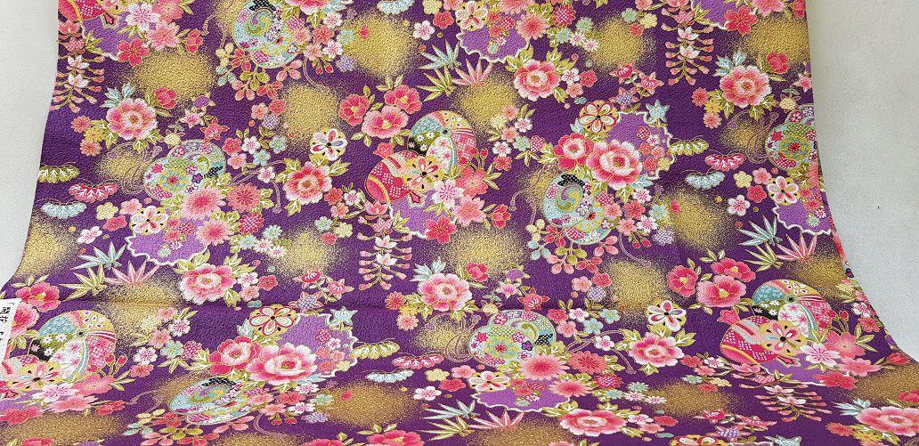 """Florais Japoneses com """"spots"""" douradinhos. BKA002 (50x55cm)"""