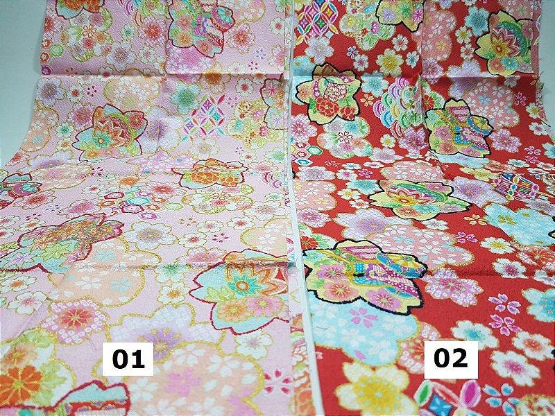Flowers-02. Tecido Japonês 100% Algodão (50x55cm)