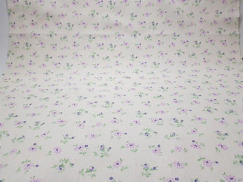 Shy Flower. Tecido Japonês Alg+Linho. AA015 (50x55cm)