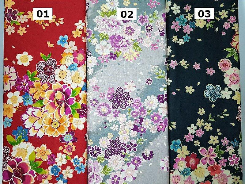 Flowers-05. Tecido Japonês 100% Algodão (50x55cm)