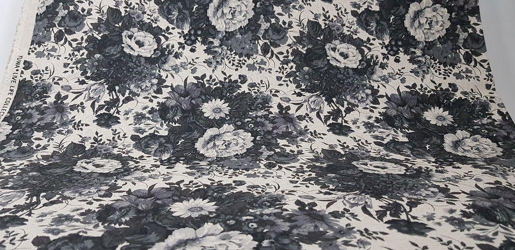 Flowers-08. Black & White. Tecido em Algodão+Linho Japonês  (50x110cm)