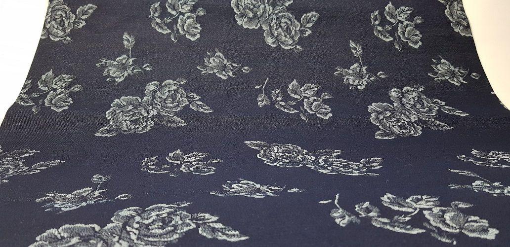 Blue Roses. Tecido Estruturado. (50x140cm)
