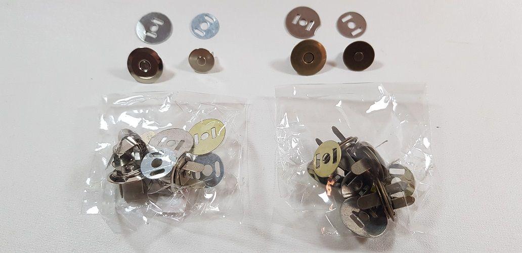 Botão Magnético Fino Sem Rebite. Tamanho 16mm c/ 04 unid