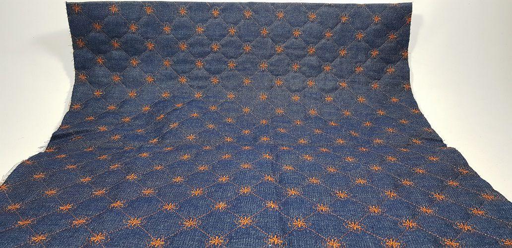 Jeans Matelassê Quadriflor.  50 x 140cm