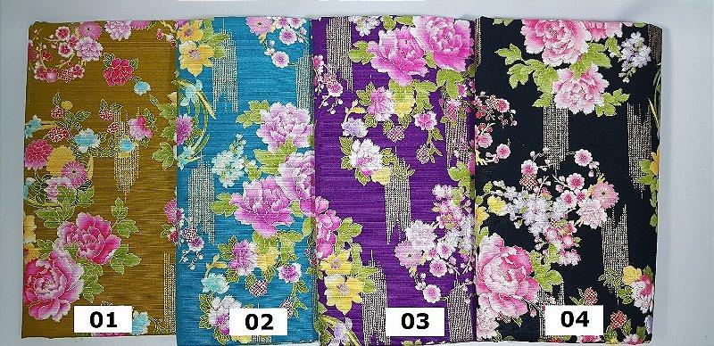 Floral Texturizado. Tec Jap. Douradinho. TI024 (50x55cm)