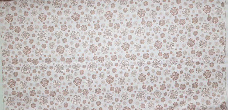 Floral Bege. Tecido 100% Algodão. TN067 (50X70cm)
