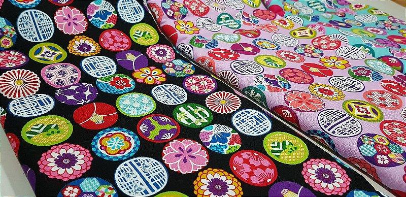 Colour Balls. 100% Algodão Japonês.  50cm x 55cm