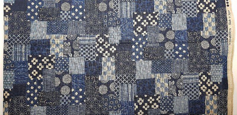 Rustic Blue Miscelaneous. Tecido Algodão Encorpado Japonês. (49x110cm)