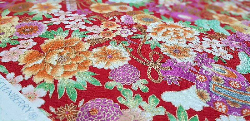 Flowers. Tec. Douradinho Japonês. TI050 (50x55cm)