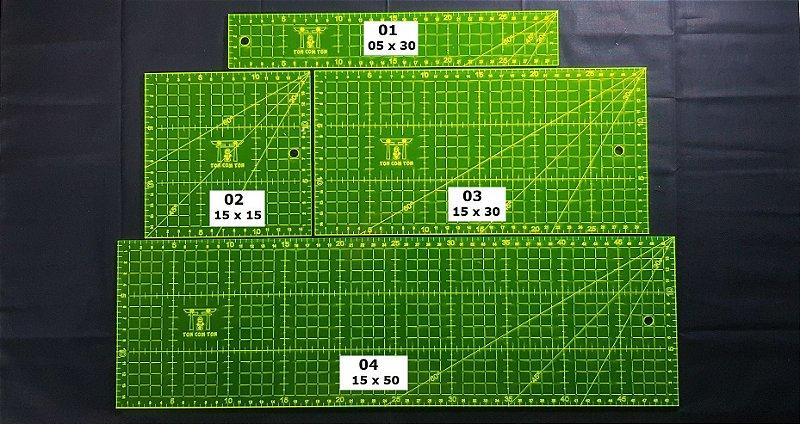 Régua TonComTon: 5x30, 15x15, 15x30 e 15x50cm