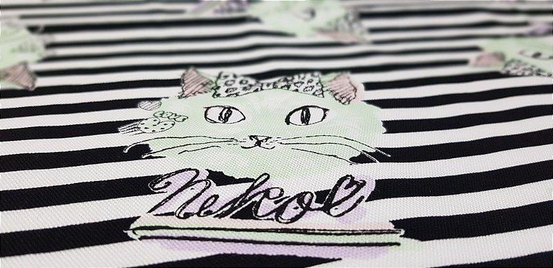 Neko in Love. Linho+Algodão Japonês. JV00006 (50x55cm)