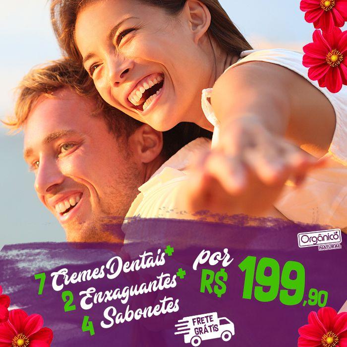 Kit Mês dos Namorados (7 Cremes dentais + 2 Enxaguantes + 4 Sabonetes) FRETE GRÁTIS