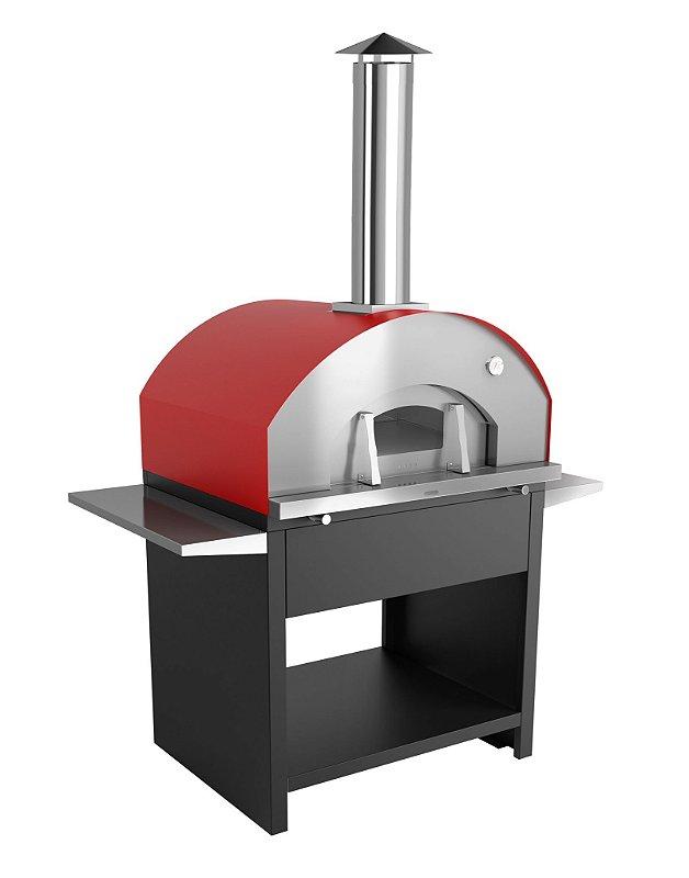 Forno de Pizza à Lenha 800EX - Modelo Garden Grande Vermelho Metávila