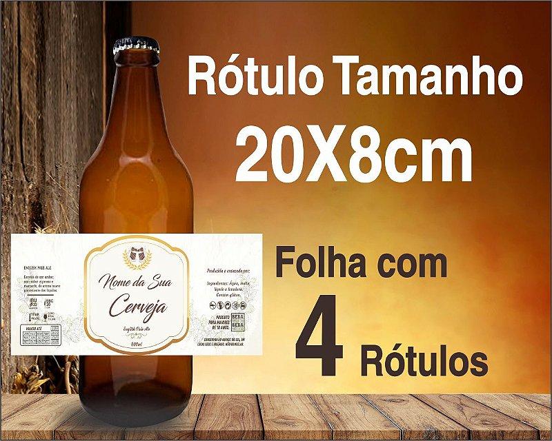 RÓTULO de VINIL PARA CERVEJA ARTESANAL - C/ 4 Rótulos de 20x8cm