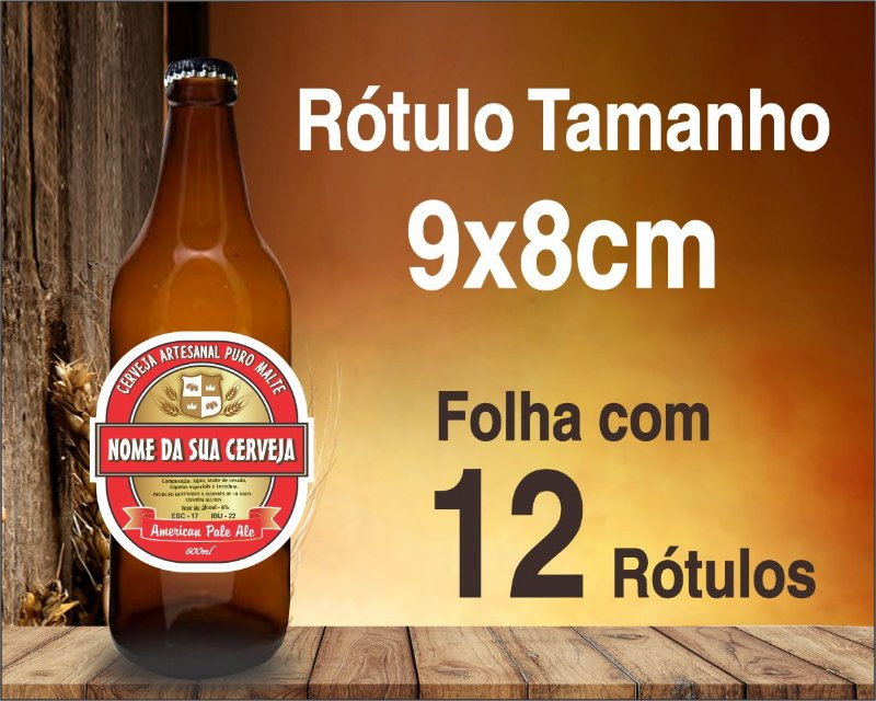 RÓTULO de VINIL PARA CERVEJA ARTESANAL - C/ 12 Rótulos de 9x8cm