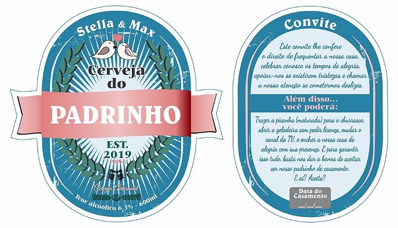 Rótulo de Cerveja para Padrinhos com Contra rótulo