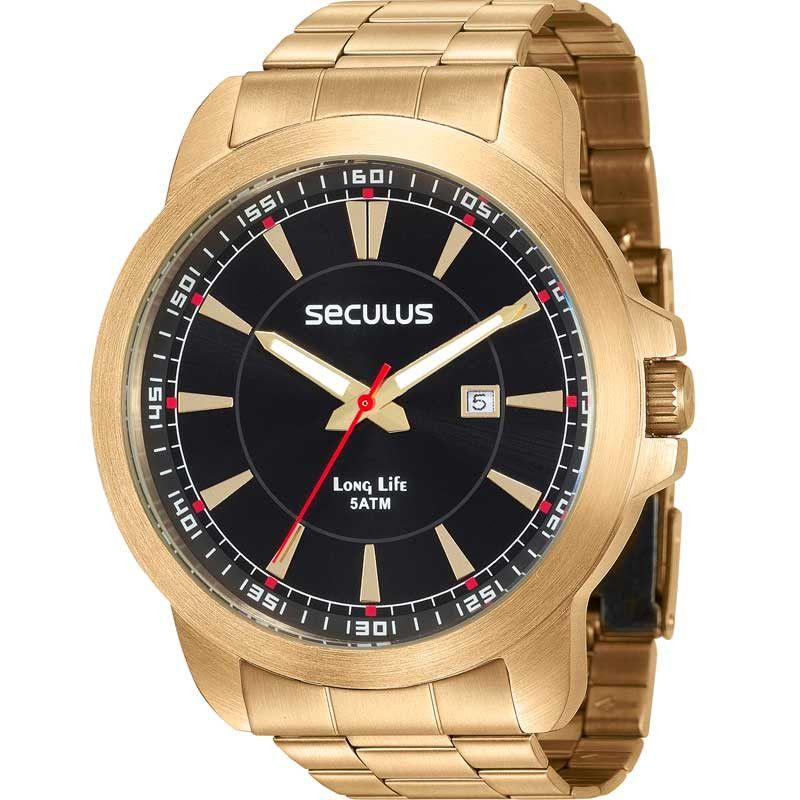 5b1a2d965f6 Relógio Seculus Masculino Analógico Dourado 28928GPSVDA2 - Estrela ...