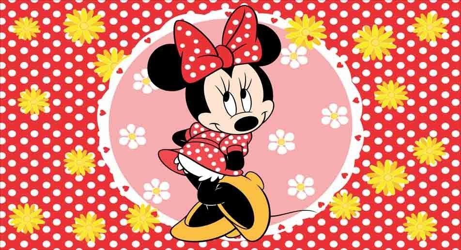 e6e477358b4398 Painel de festa infantil minnie com fundo vermelho e pequenas bolinhas