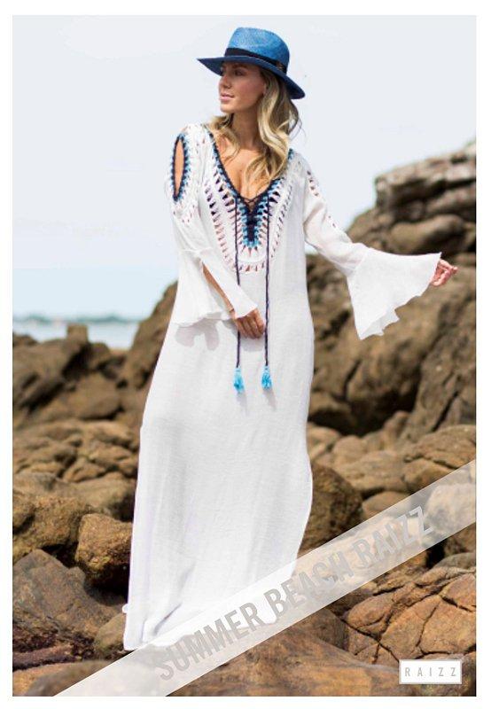 Vestido longo Bordado Praia