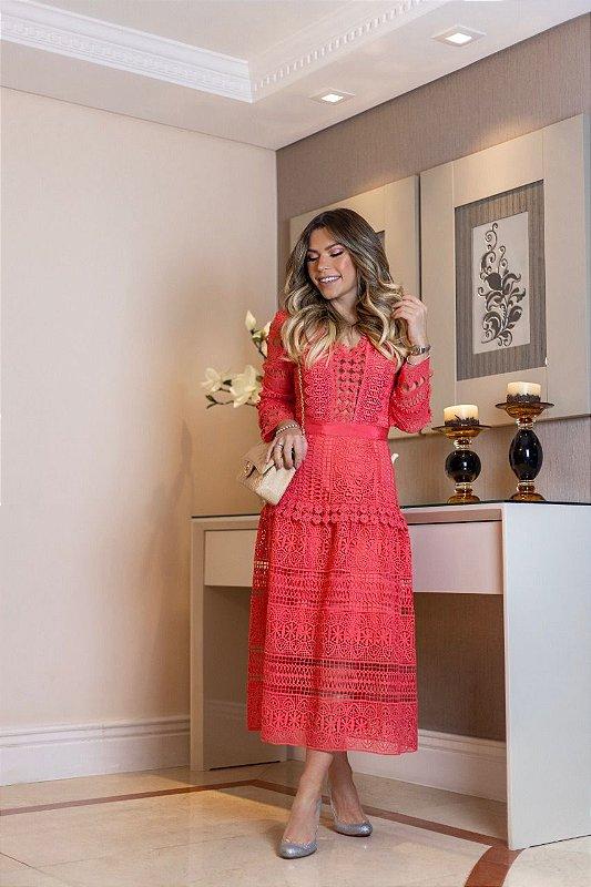 Vestido Renda Midi Coral