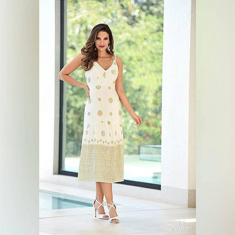Vestido Poá Barrado Print