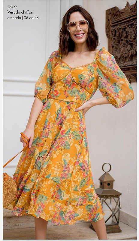 Vestido Chiffon Print Floral Amarelo