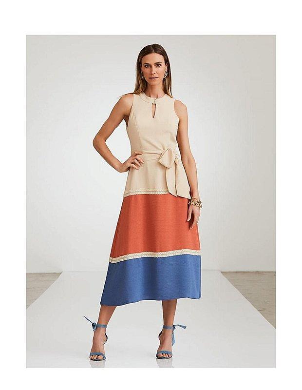 Vestido Crepe Tons