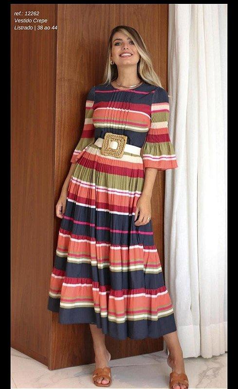 Vestido Crepe Listrado