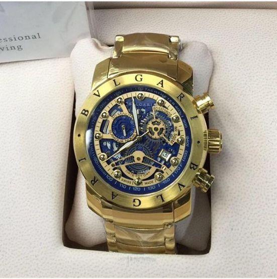 7d0ae04fbf8 Relógio Bvlgari Eskelleto fundo Blue Gold - Lojas Factory - Relógios ...