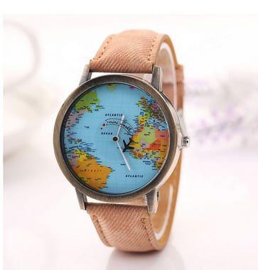 Relógio Mapa Mundi Avião - Marrom