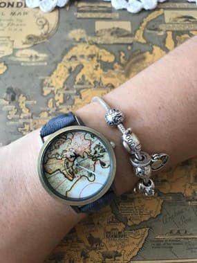 Relógio Mapa Vintage com Avião-  Azul Marinho