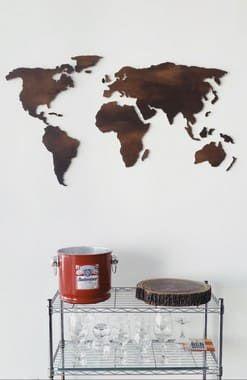 Mapa-Múndi Parede Madeira MDF - Efeito Aço Corten -1.20mx60cm
